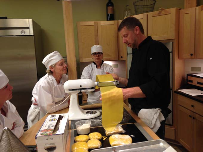 Chef Dave Making Pasta for Milwaukee Culinary School